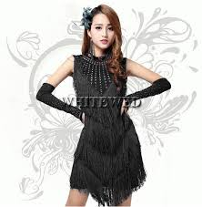Jazz Dancer Halloween Costume Aliexpress Buy Bead Neck Fringe Modest Short Latin