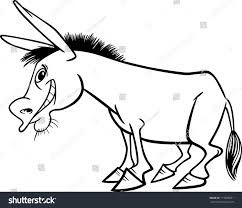 farm animal coloring book cartoon illustration funny donkey farm animal stock vector