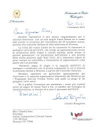 thanksgiving appreciation letter thank you note from his excellency the ambassador of italy in usa