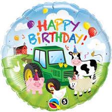 birthday baloon delivery farm yard themed happy birthday balloon helium filled farm animals