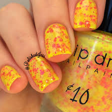 Bright Orange Paint by Polished Jess Drip Drop Nail Paint And Candied Apple Polish