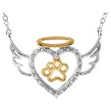 pet memorial necklace diamond angel heart paw 18 necklace pet memorial jewelry pet