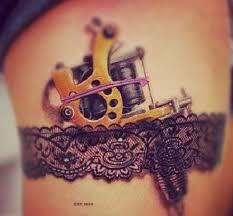 garter tattoo machine belt tattoo on thigh