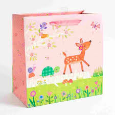 baby shower gift bags woodland fawn baby girl baby shower gift bag papyrus