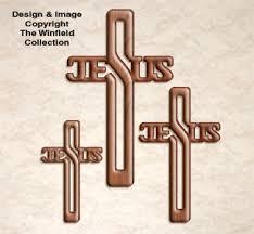 scroll saw wall jesus cross trio pattern