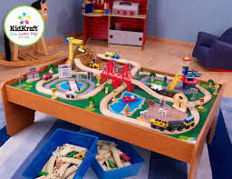 step 2 plastic train table amazon com kidkraft ride around train set and table toys games