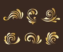 golden curlicues ornament vectors vector graphics