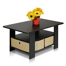 Black Modern Coffee Table Petite Coffee Table With Foldable Bin Drawer Multiple Colors