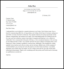 awesome collection of computer technician cover letter on format