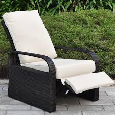 Patio Chairs With Cushions Amazon Com Outdoor Resin Wicker Patio Recliner Chair With