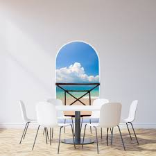 Fabric Wall Murals by Arch Balcony 3d Wall Mural Huge Size Clear Sky Above The Ocean