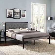 modway mod 5182 brn gry set mia queen tufted gray fabric bed on