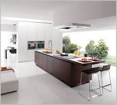 minimalist style of modern kitchen with long contemporary island