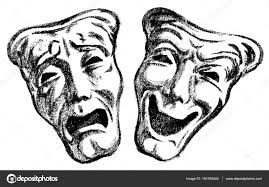 pencil drawings of the dramatic theatrical masks u2014 stock photo