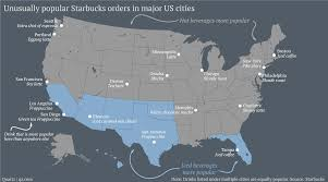 Boston Vs New York Map by Map Most Popular Starbucks Coffee Drink Orders In U S Cities