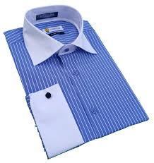 labiyeur men u0027s slim fit french cuff striped dress shirt blue white