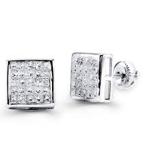 real diamond earrings for men 14k white gold fashion princess cut diamond earrings diamond