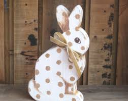 Easter Decorations Rabbits by Wooden Easter Bunny Etsy