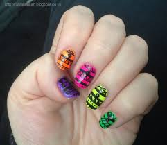 kawaii nail art ibd just gel neon tribal nail art
