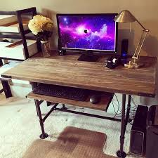 Diy Rustic Desk Steel Pipes Pine 2 6 Decided That I Would Build A New Desk