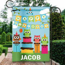Decorative Garden Flags Hooty Owls Happy Birthday Personalized Party Banner Garden Flag