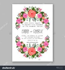 wedding invitation printable template with floral wreath or