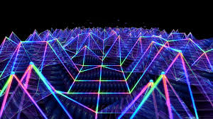 seamless 3d abstract animation of colorful triangular sound wave