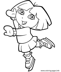 dora explorer ice skating coloring pages printable