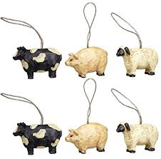 mini farm animal ornaments set 6 1 5 home kitchen
