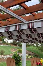 Modesto Tent And Awning Retractable Shade Panel On Lattice Patio Cover By Superior Awning