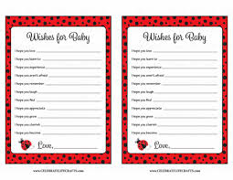 wishes for baby cards wishes for baby shower activity ladybug baby shower theme for