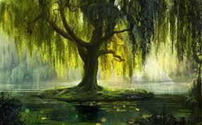 misc leaves waterlilies bath painting artwork pond willow tree