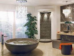 bathroom unique bathroom decor idea with round bathtub and stone
