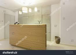 wooden reception desk in spa center