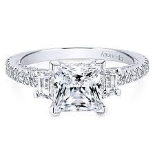 princess cut 3 engagement rings lincoln 18k white gold princess cut 3 stones engagement ring
