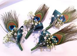 wedding flowers kent peacock feather buttonholes with baby s breath detail on the