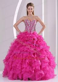 dress for quincea era designer beaded corset quinceanera dress with fuchsia ruffles