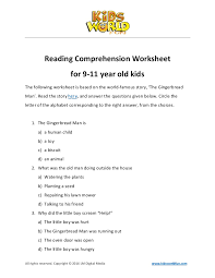 reading comprehension worksheet for 9 11 years old kids