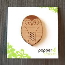 barn owl pin wood brooch peppersprouts
