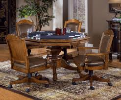 Dining Room Chairs With Casters by Coaster Mitchell Upholsted Arm Game W Casters Oak Poker Table