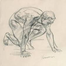 classical life drawing of male model by harry carmean harry