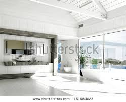 Modern White Bathroom - interior modern white bathroom apartment sparse stock photo
