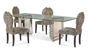 Animal Print Furniture Home Decor by Murano Dining Set With Zebra Print Chairs Mirror Finish D2624