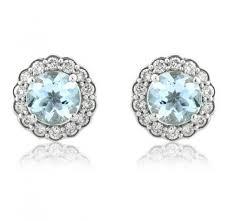 aquamarine stud earrings diamond aquamarine stud earrings 0 37ct 9k white gold