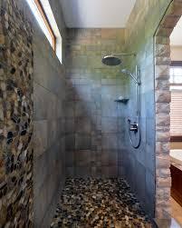 pebble shower floor tile bathroom rustic with flat tile black