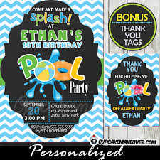 pool party invitation for boys blue chevron personalized d5