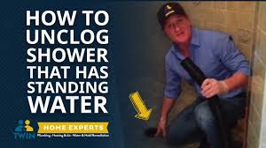 how to unclog a shower with standing water fast u0026 easy youtube