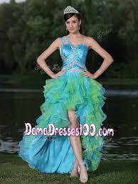 2016 colorful high low one shoulder multi color dama dresses for