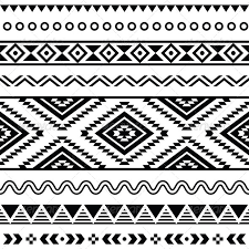 tribal seamless pattern aztecb black and white by redkoala