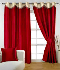 Plain Red Lined Eyelet Curtains Nrtradiant Com